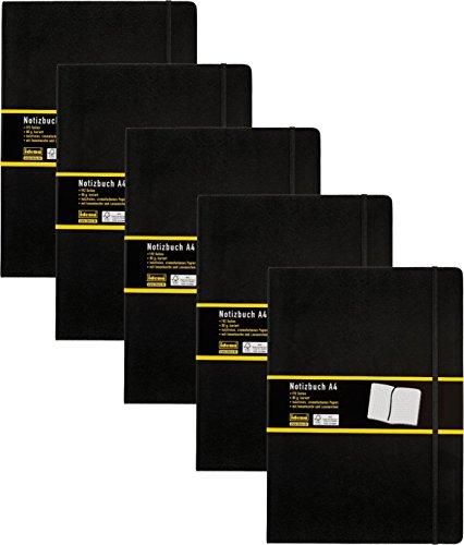 5 Stück Idena 209280 - Notizbuch DIN A4, 192 Seiten, 80 g/m², kariert, schwarz