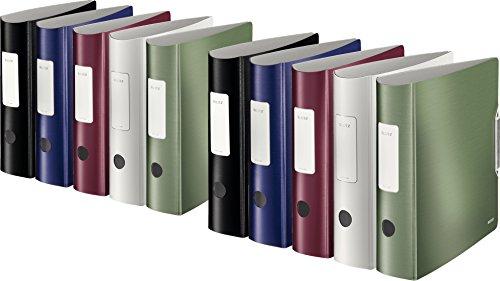 Leitz Qualitäts-Ordner 180° Active Style in gebürsteter Alu-Optik, A4, runder Rücken, 8,2 cm Breite, Gummibandverschluss (10, Alle 5 Farben)