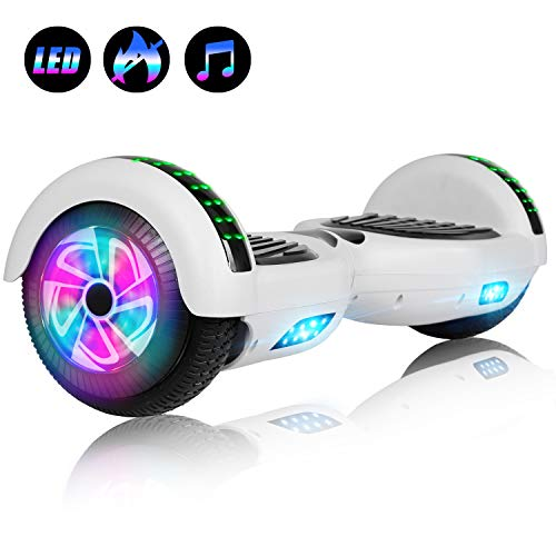 Felimoda Hoverboard with Bluetooth, 6.5 LED Light Wheel Self Balancing Scooter, Two-Wheel Hoverboard, Electric Scooter for Kids & Adult, UL2272 Certified Self Balancing Hoverboards - White