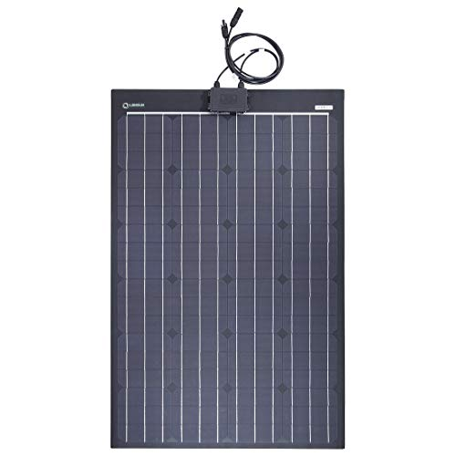 lensun 100W 12V Black Fiberglass Semi-Flexible Monocrystalline Solar Panel Without Eyelets and Right Junciton Box for 12V Charge Battery on Boats, Caravans, Motorhomes, Yachts, RVs