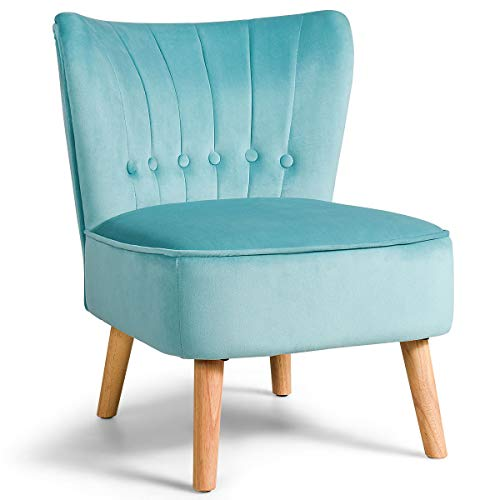 Giantex Modern Velvet Accent Chair, Upholstered Leisure Sofa Chair w/Wood Legs, Thickly Padded and Button Tufted, Armless Wingback Club Chairs for Living Room Bedroom Furniture (1, Turouoise)