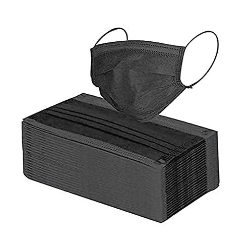 FIRSS 50 Stücke Schwarz Erwachsene Munds_Bandana, Multifunktions Tuch, Atmungsaktiv Gesicht Nase-Kopftuch, Bunt Weich Stoff mit Ohrband, Half Schals (A-0, 50pc)