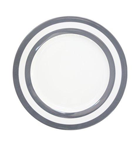 Krasilnikoff HP26191 Dinner Plate - Speiseteller - Essteller - Porzellan - Charcoal Stripes/grau gestreift - Ø 26,5 cm