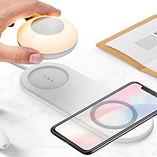 Wireless Charger with Night Light, BECROWM Universal 10W Fast Wireless Charging Pad with Rechargeable Touch and Magnetic S...