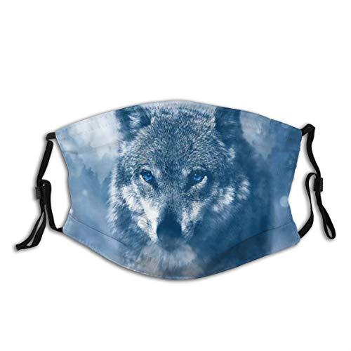 ZORMIEY Face Cover Wolf Wildlife Wolf auf der Suche nach Beute im verschneiten Wald Wiederverwendbare Anti-Staub-Mund-Bandanas mit 2 Filtern