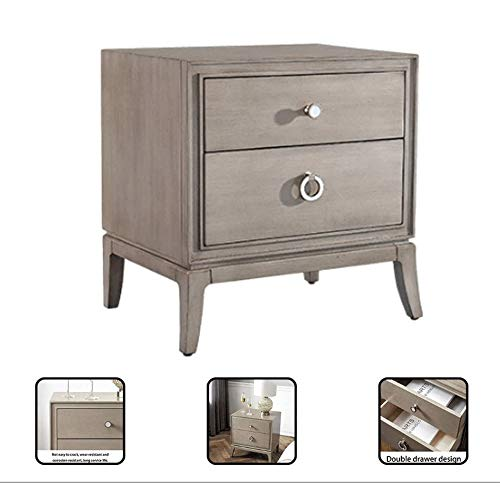 Great Deal! Side End Table Nightstand 2-Drawer Furniture Bedroom …American Light Luxury Style Mode...