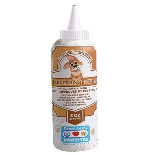 Pawtitas Limpiador de oidos para Perros formulado para el rapido Alivio de Malos olores, infeccion y Limpieza de oidos   Limpiador de oido para Perros y Cachorros - 236 ml ✅