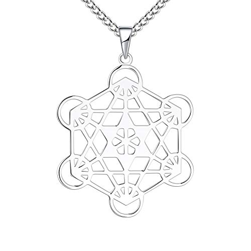 FJ Metatron's Cube Necklace for Men with 60cm Curb Chain