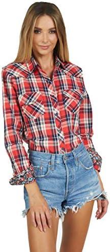 Women's Long Sleeve Plaid Button up Fashion...