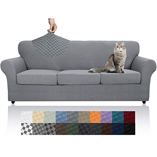 YEMYHOM Latest Checkered 4 Pieces Couch Covers for 3 Cushion Couch High Stretch Thickened Sofa Cover for Dogs Pets Anti Slip Elastic Slipcovers Living Room Furniture Protector (Sofa, Light Gray)
