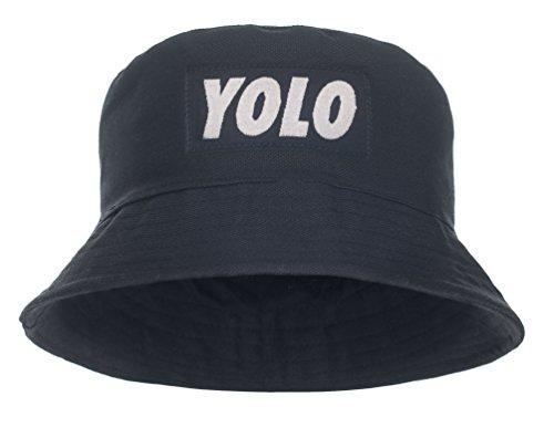Damen Mädchen Parental Advisory Bucket Hat Bush Cap Sommer Urlaub schwarz Party Gr. One Size, Schwarz - YOLO