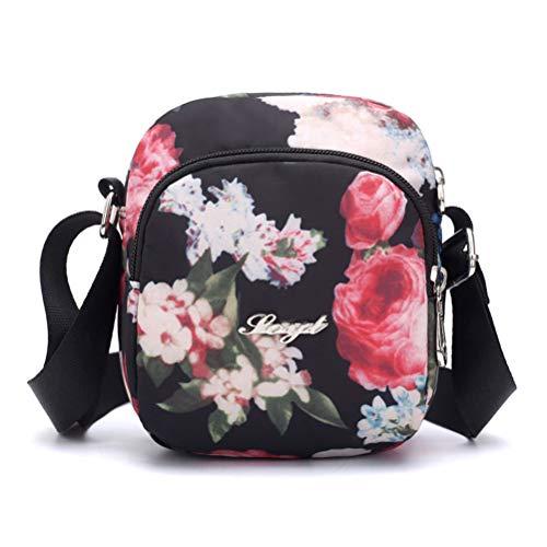 Women Waterproof Crossbody Shoulder Mini Bags, Retro Floral Printing Nylon Zipper Portable Handbag Pouch Packets Storage Organizer