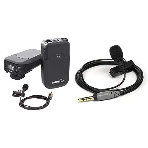 RODE RødeLink Filmmaker Kit mit Funk Mikrofon schwarz & Rode smartLav + Lavalier Mikrofon mit Pop-Filter, wasserdicht für Smartphone und Tablet, TRRS-Anschluss vergoldet, schwarz