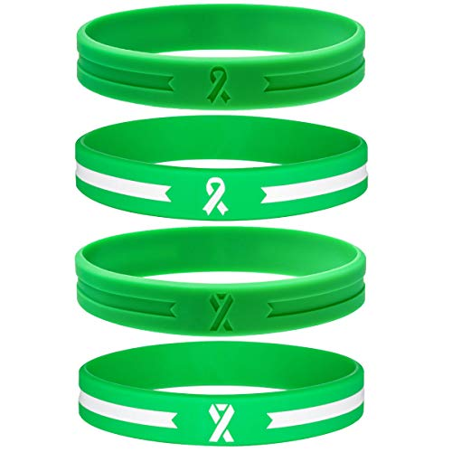 Sainstone 4-Pack Green Awareness Ribbon Silicone Bracelets - Mental Health Awareness Bracelet - Cancer & Cause Rubber Wristbands Gift for Men Women for Patients, Survivors, Family, Friends (4-Pack)