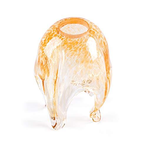 MiniSun Abat-jour en verre de rechange pour abat-jour Motif fleurs Doré Ø 23 mm