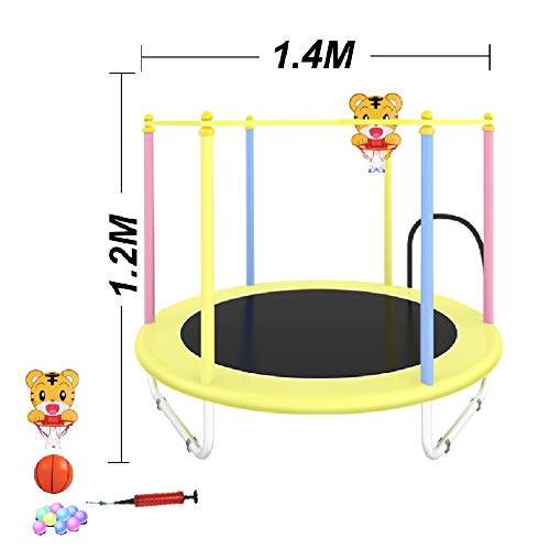 LGPNB trampoline and enclosure 4.5ft kids outdoor (3-7 years),Fitness Trampette Garden Trampoline Safety Net Complete Set Jumping for Kids,it's ideal size