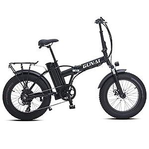 GUNAI Elektrofahrräder 500W,20 Zoll Faltbare Mountain Snow E-Bike Rennrad mit Scheibenbremsen 7 Geschwindigkeit