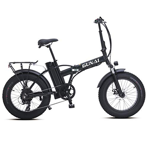 GUNAI 20 inch Electric Snow Bike 500W Folding Mountain Bike with Rear Seat with 48V 15AH Lithium Battery and Disc Brake