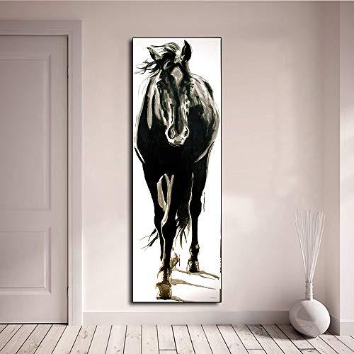 Rahmenlose Malerei Wandkunst Leinwandbild Tiermalerei Schwarzweiss-Pferd für Wohnzimmer HauptdekorationZGQ3724 40X120cm