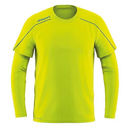 uhlsport Stream 22 Goalkeeper Shirt Camiseta de Portero, Hombre, Amarillo Fluor/Radar Azul, XXL