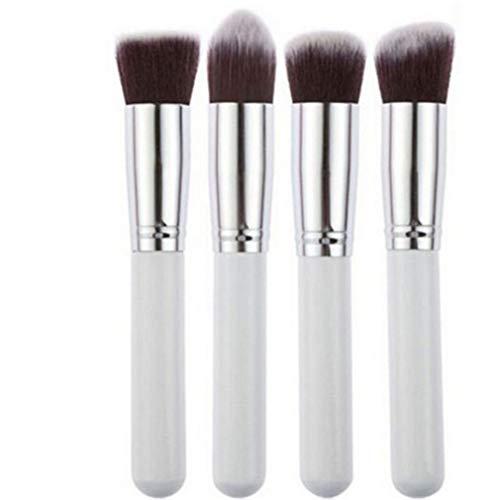 Mvude Pinceaux de Maquillage synthétiques Set 4 Pc Face Foundation Blending Powder Brosses cosmétiques,Blanc argenté Grand