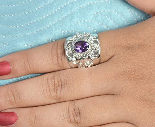 Anillo de plata amatista, anillo, anillo de piedras preciosas, anillo de plata, anillo hecho a mano, anillo de plata de ley 925 maciza, tamaño 4 a 29 ES
