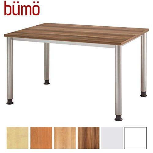 Bümö® bureau in hoogte verstelbaar | Bureautafel in 6 kleuren en 8 maten beschikbaar | Bureaubureau FSC-gecertificeerd (pruik, rechthoekig: 120x80 cm)