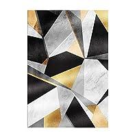 QY カーペット モダンゴールデンカーペット、リビングルームラグ用ダークグリーン/ブラック幾何学的なベッドルームカーペットファッションパーラーマット/タペット、リビングルーム印刷用の北欧カーペットラグ幾何学的な床滑り止め防汚(Size:90X160cm,Color:1)