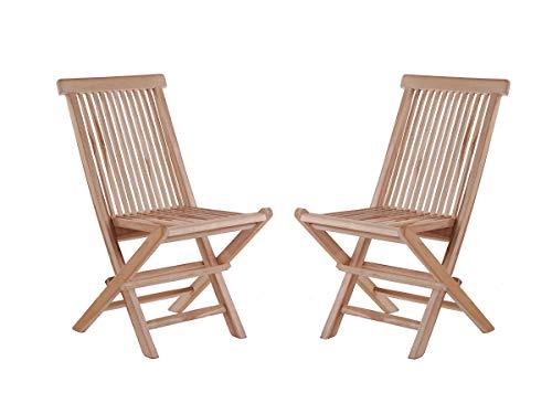Junado Junado 2er Spar-Set Klappstühle Menorca, Teak-Holz, Gartenstuhl klappbar, für Balkon, Terrasse oder Garten braun