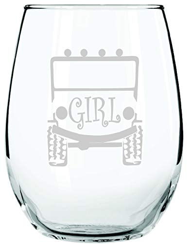 Trucker GIRLS like offroad too! STEMLESS WINE GLASS | Off Road Rock Climber or Mall Crawler | Woman or Girl Offroaders 4 X 4 | 15 Ounce | Birthday, Anniversary