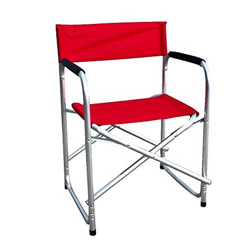 Sedia Regista in Alluminio e Tessuto Poliestere Rosso,Nuova già montata Esterni Giardino terrazza