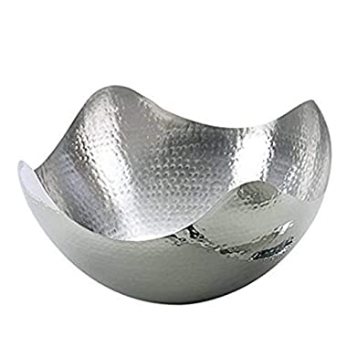 Hosley 10  Long Silver Finish Metal Bowl, Ideal Gift for Orbs, Potpourri, LED Candles, Trinkets, Wedding, Special Events, Craft. Use Decorative Floor Vases, Votive Candles to Coordinate O5