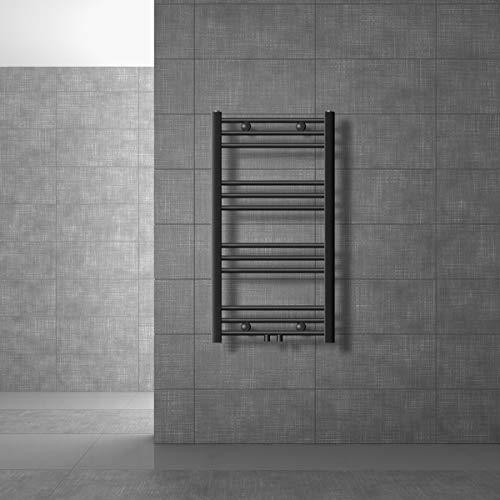 ECD Germany Sahara Radiador de toallas - 500 x 800 mm - Antracita - curvado con conexión central - Radiador toallero para baño agua calefacción - No eléctrico