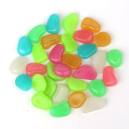 Piedras luminosas de colores Paq. 150 uni – Piedras Brillantes - Piedras decorativas de colores – Piedras que brillan en la oscuridad para jardín, acuario – Piedras decorativas fluorescentes (Mix)