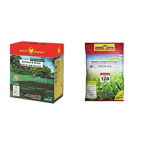 WOLF-Garten - Premium-Rasen »Schatten & Sonne«LP 200; 3820050 & Rasen-Langzeitdünger »Premium« 120 Tage LE 450, 3830045