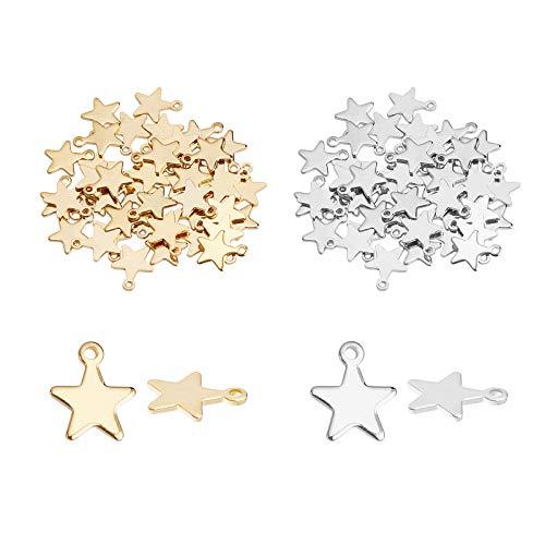 UNICRAFTALE 100pcs 2 Colori Star Charm Ciondoli in Metallo Charms in Acciaio Inossidabile 1.4mm Hole Charms Star Ciondolo per Gioielli Fai da Te Making Craft 10x8.5x1mm