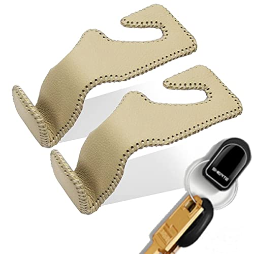 Headrest Hooks for Car, Handmade Genuine Leather Wrapping, Beige, Pack of 2, for Hanging Purses, Bags and Coats, Back Seat Organizer, 5 Colors Optional