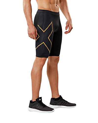2XU Mens MCS Compression Run Shorts Black/Gold Reflective XL