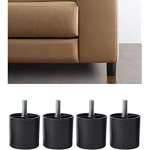 IPEA 4X Piedi in Plastica Modello Easy per Divani e Mobili – Set di 4 Gambe per Poltrone-Varie Grandezze Colore Nero, Altezza 80 mm