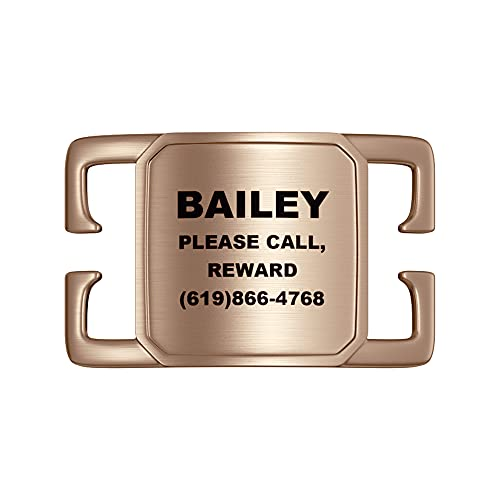 Leash King Deep Laser Custom-Engraved Slide-on Pet ID Tags for Dogs and Cats. Jingle-Free, Snag-Proof, No-Noise Stainless Steel Pet Tags: Four Lines of Personalized Text -PVD Rose Gold / 1'