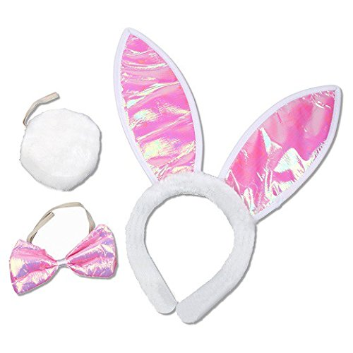 Schramm Onlinehandel S/O Set da coniglietta 3 Pezzi, Orecchie, Farfallino e Coda, per Carnevale, per Adulto (0023)
