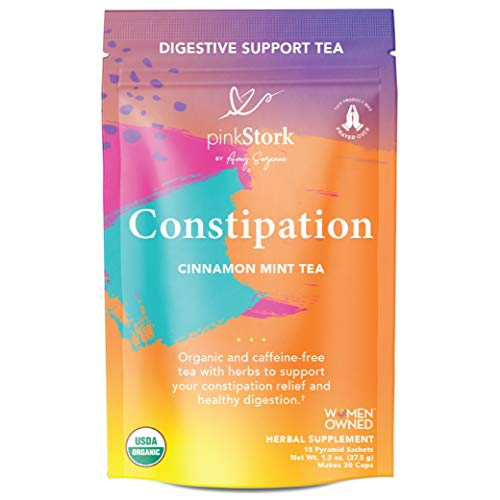 Pink Stork Constipation Tea: Cinnamon Mint Laxative Tea for Women, USDA Organic + Constipation & Gas Relief with Cardamom + Coriander Seeds, Women-Owned, 30 Cups