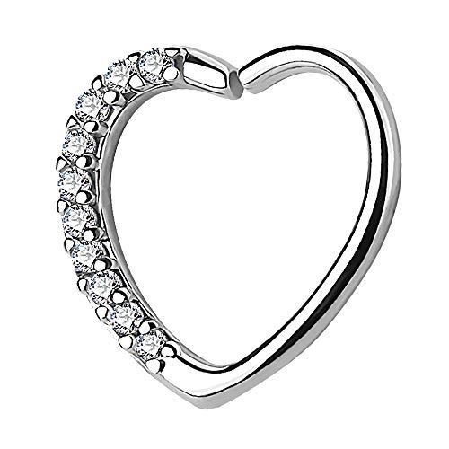 Piercingfaktor Continuous Piercing Ring Herz mit Kristall Strass Herzchen für Tragus Helix Ohr Cartilage Knorpel Ohrpiercing Silber Clear Rechts