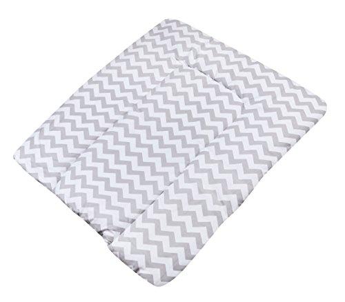 KempKids. Wickelauflage aus hochwertiger Baumwolle Wickelunterlage Wickeltischauflage Größe: 70x75 cm Graue Zickzacke