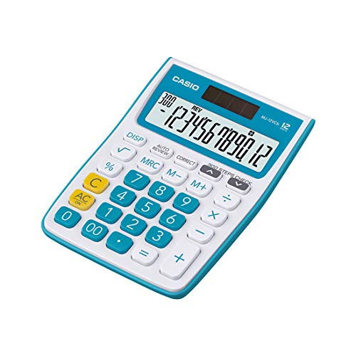 Casio MJ-12VCb-BU 300 Steps Check & Correct Colourful Desktop Calculator (Blue)