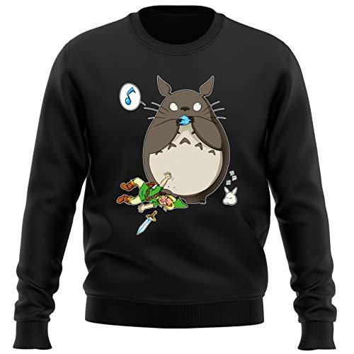 Okiwoki Pull Noir Parodie Zelda - Totoro et Link - Ni Vu ni connu. (Sweatshirt de qualité Premium de Taille M - imprimé en France)