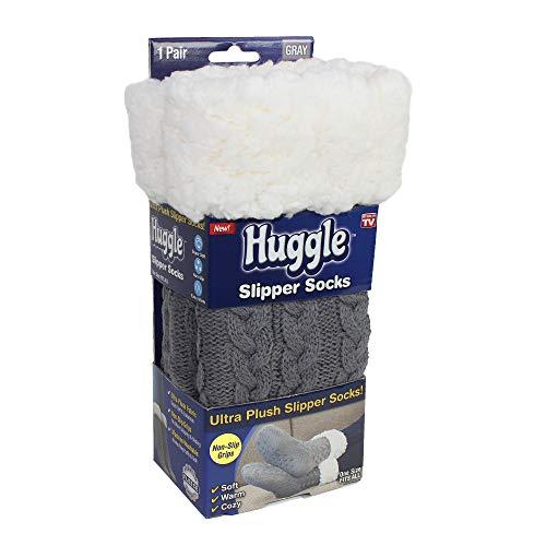 Huggle Socks, Premium Fleece Slipper Socks with Non-Slip Grips, Grey As Seen on TV
