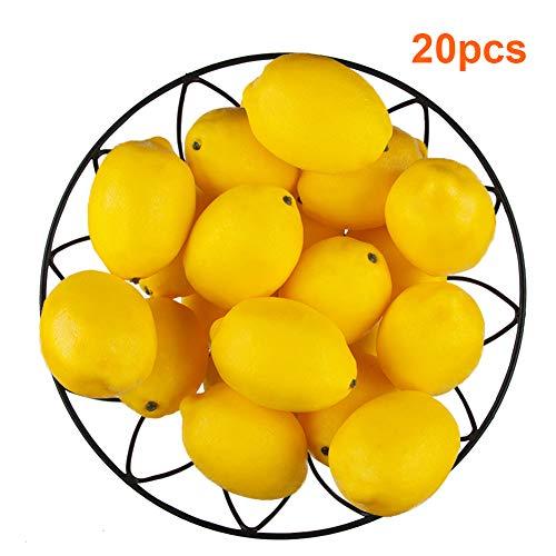 Toopify 20 PCS Yellow Artificial Lemons, Fake Fruit Lifelike Simulation Lemons for Home Kitchen Party Decoration 3'' X 2''