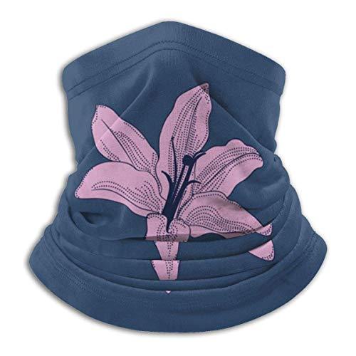 Bklzzjc Lys Roses Fond Bleu Chapeaux Cache-Cou Plus Chaud Tube de Ski d'hiver Foulard Masque Polaire Couverture de Visage Coupe-Vent pour Hommes Femmes personnalisé
