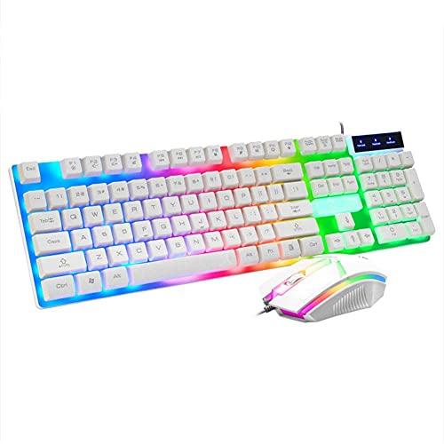 Fhdisfnsk Combinación de Teclado y Mouse con Cable USB con retroiluminación LED para Jugadores de PC de Escritorio